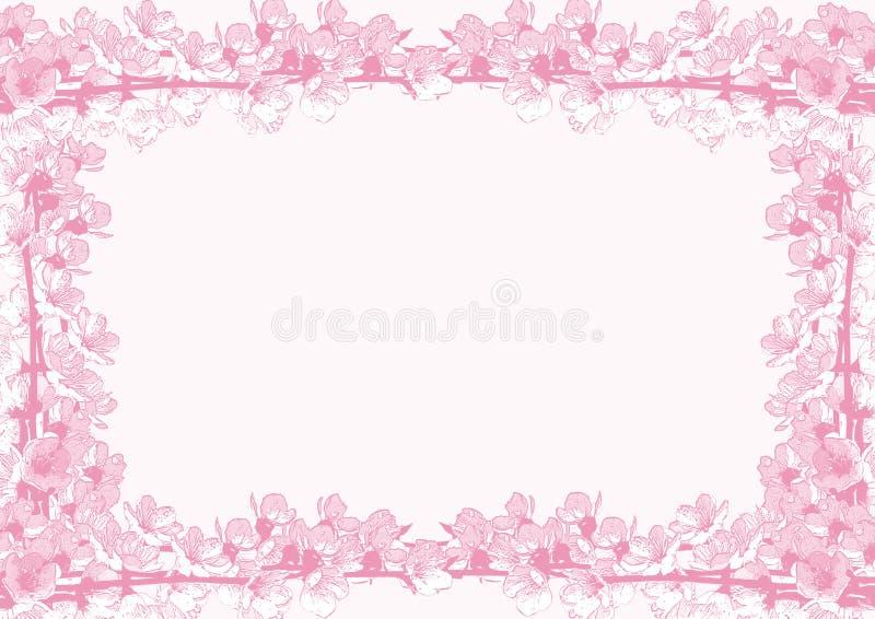 Ram av körsbärsröda blomningar royaltyfri illustrationer