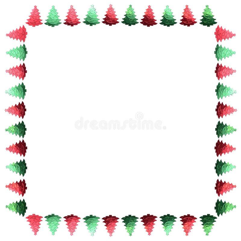 Ram av konfettier Gräsplan och röd ram jul min version för portföljtreevektor kant landskap stock illustrationer
