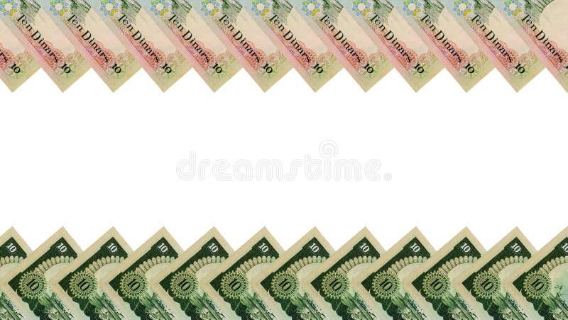 Ram av kuwaitiska 10 dinar sedlar arkivbild