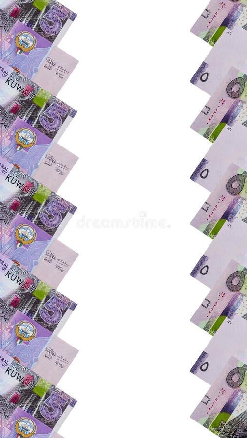 Ram av kuwaitiska 5 dinar sedlar arkivfoton