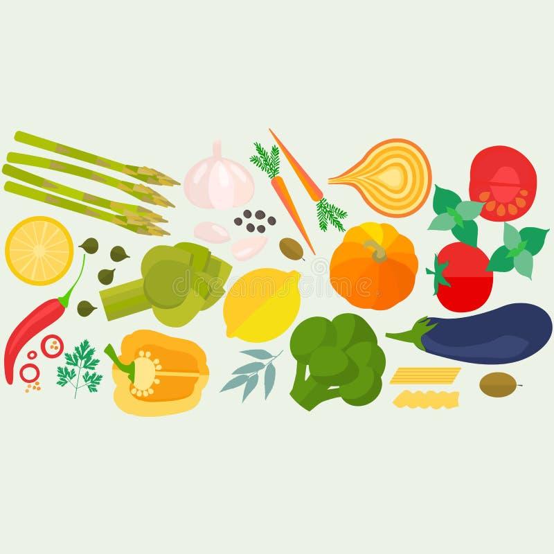 Ram av plan planlagd mat med copyspace vektor illustrationer