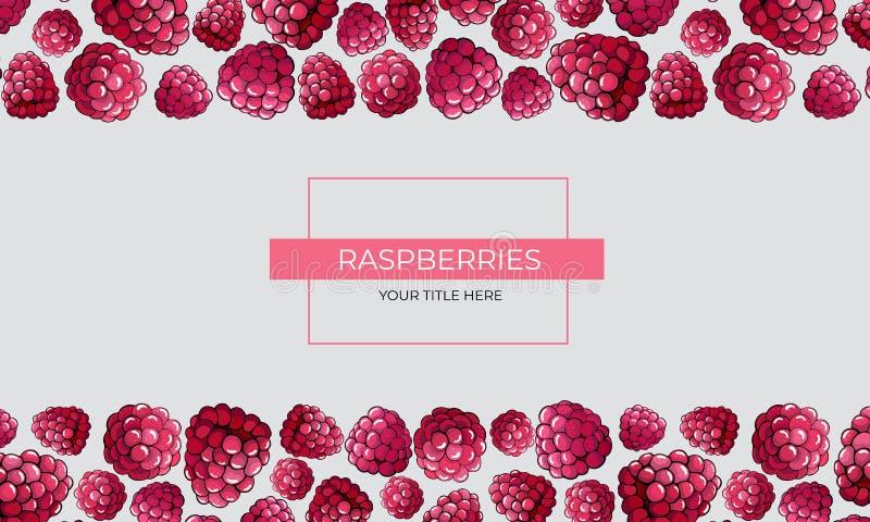 Ram av rosa hallonbär överst och botten av bladet vektor illustrationer
