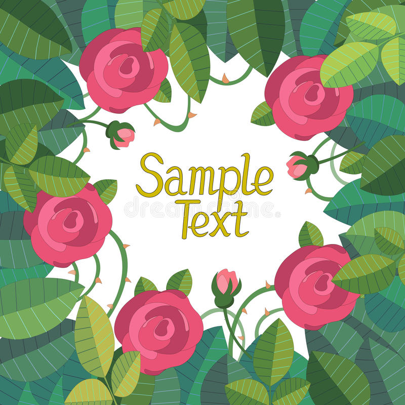 Ram av rosor med utrymme för text royaltyfri illustrationer
