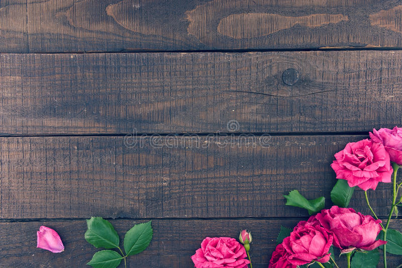 Ram av rosor på mörk lantlig träbakgrund just rained arkivfoto