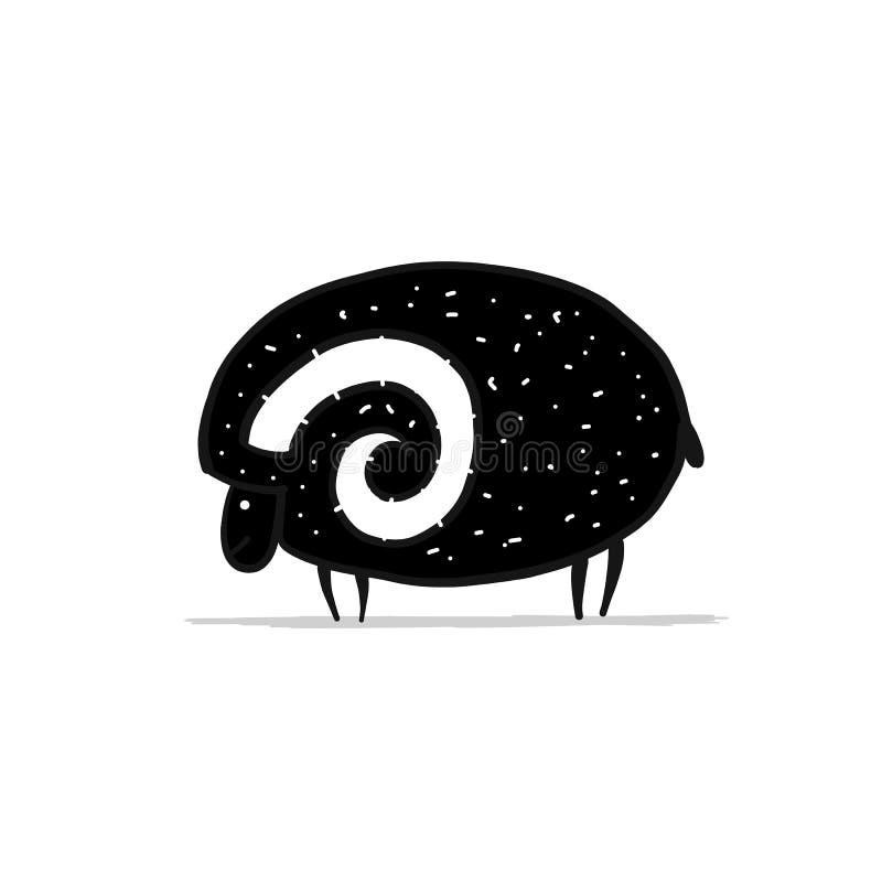 Ram bonito, esboço simples para seu projeto ilustração royalty free