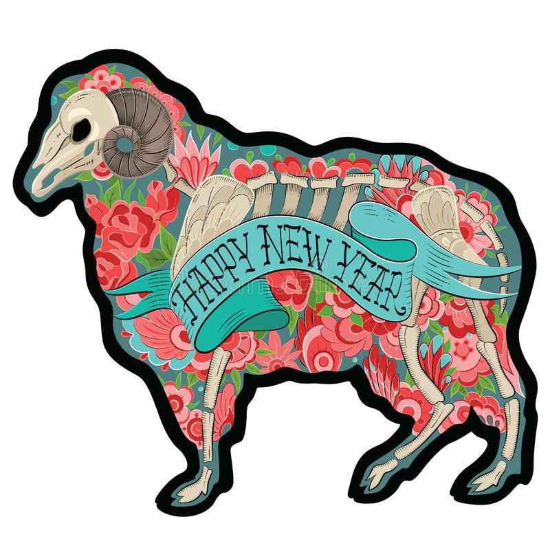 Ram colorido ilustração stock