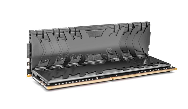 Ram DDR4在白色背景隔绝的记忆模块 免版税库存照片