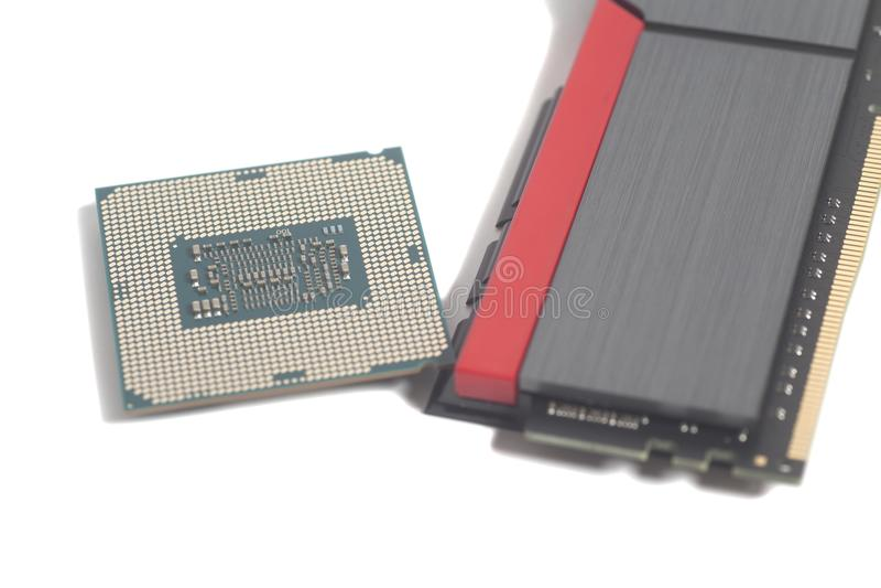 RAM de la memoria de computadora del alto rendimiento DDR4 y proceso central imagen de archivo libre de regalías
