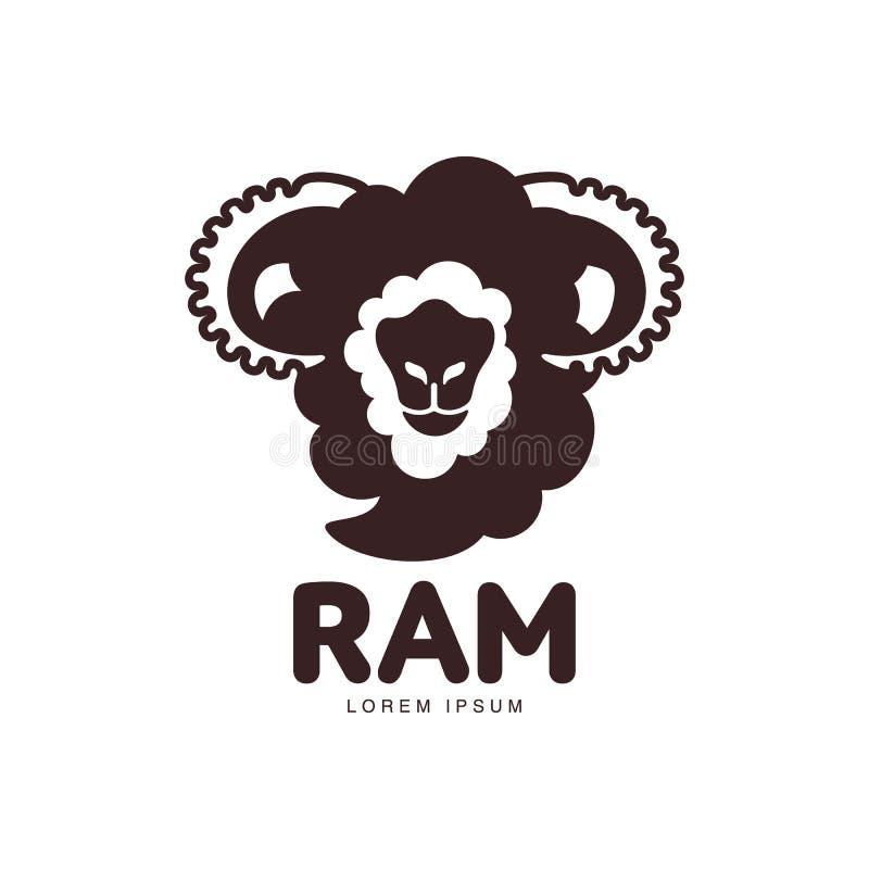Ram della siluetta di vista frontale, pecora, modello grafico capo di logo dell'agnello illustrazione di stock