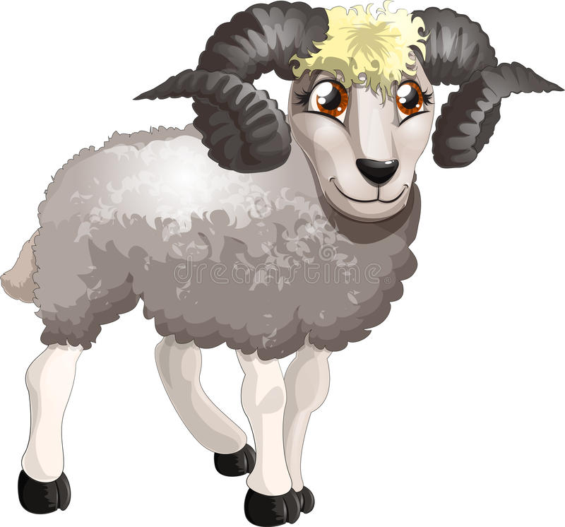 Ram. Drawn on a white background stock illustration
