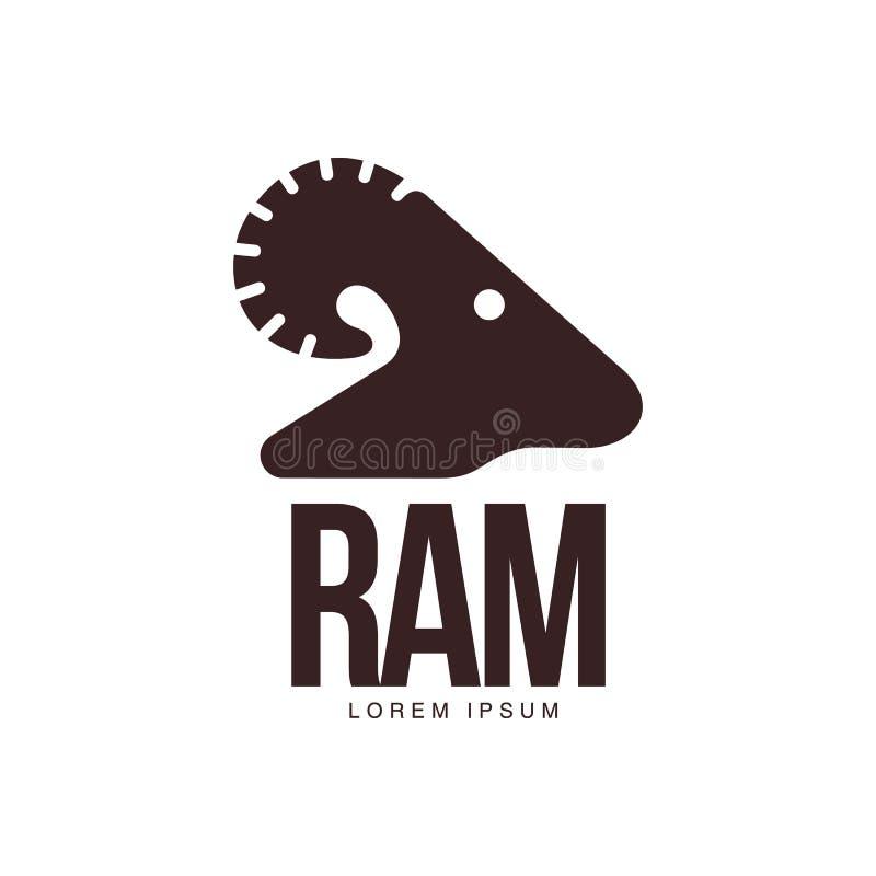 RAM får, mall för logo för head kontur för lamm grafisk vektor illustrationer