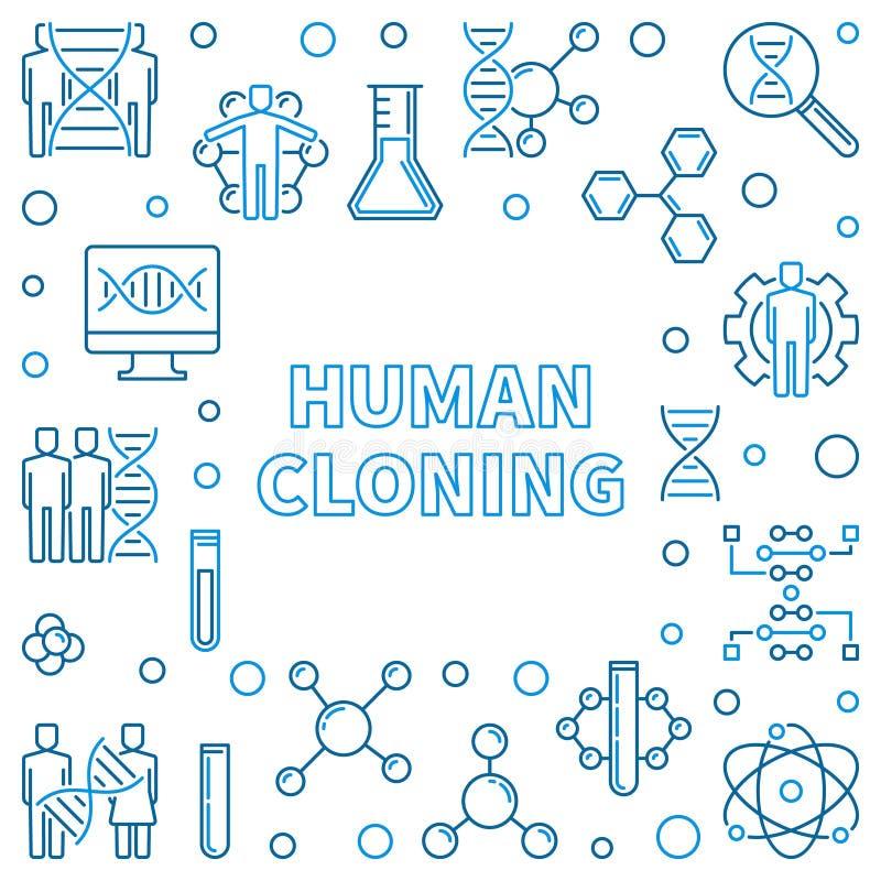 Ram för översikt för mänsklig kloning fyrkantig ocks? vektor f?r coreldrawillustration royaltyfri illustrationer