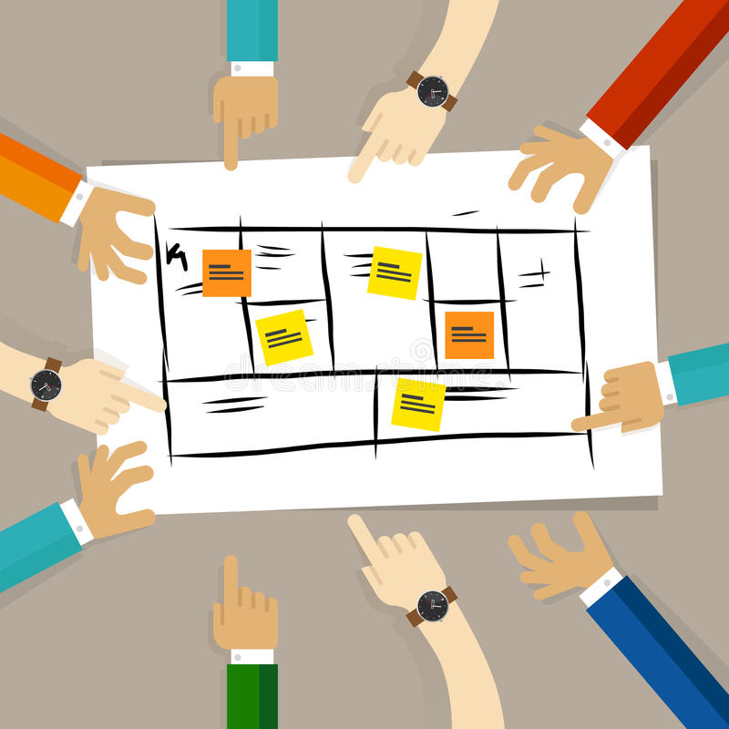 Ram för affärsmodell laget diskuterar planet för det framkallande företaget för framtid begrepp av teamworksamarbete och royaltyfri illustrationer