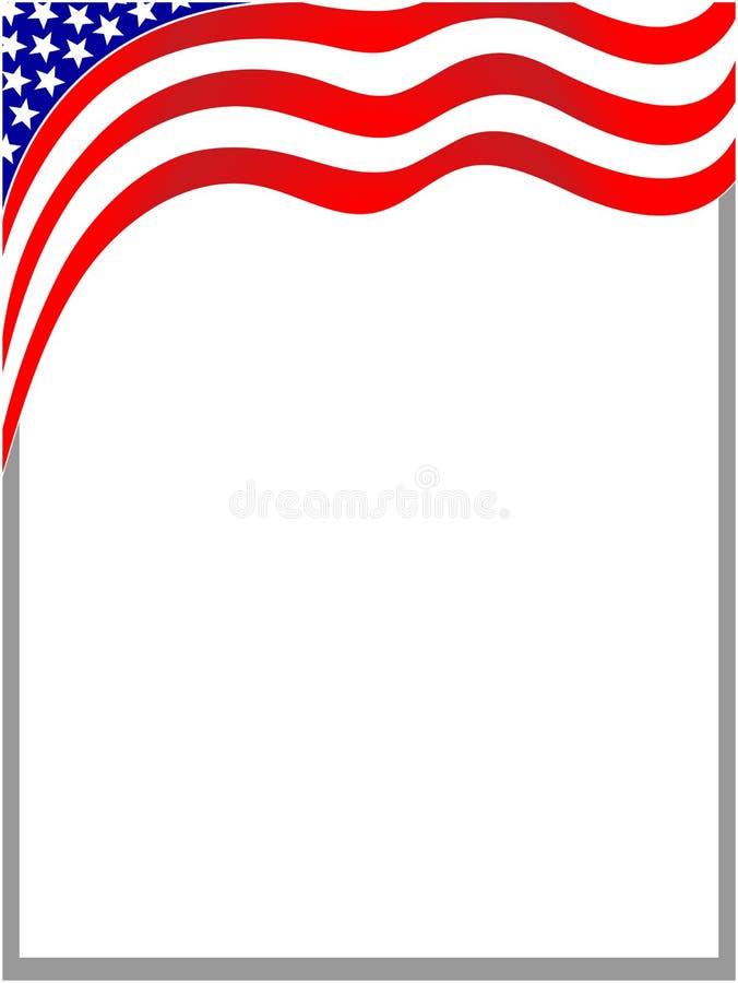 Ram för amerikanska flagganvågbakgrund stock illustrationer