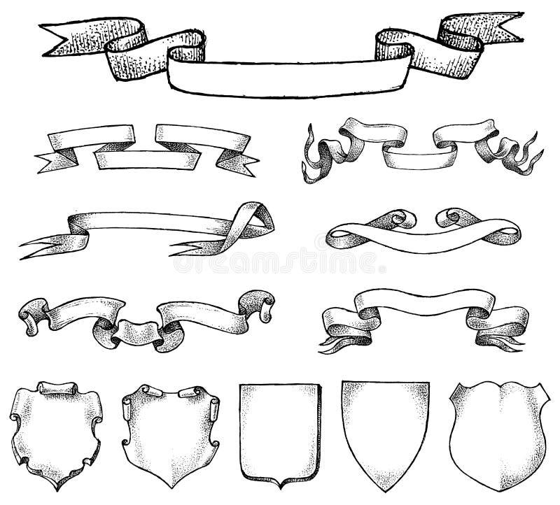 Ram för bandetikettande för nationellt emblem Heraldik i tappningstil Baner och mallar för inskrifter och lag stock illustrationer