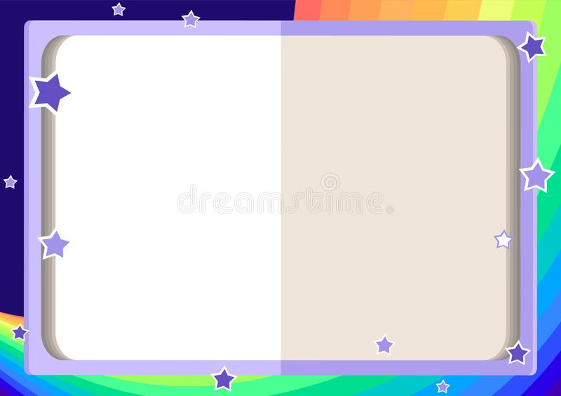 Ram för barn` s med en öppna bok, regnbåge, himmel och stjärnor vektor illustrationer