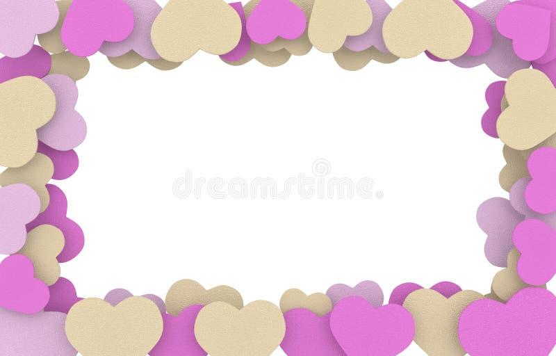 Ram för beiga-, rosa färg- och lilatvålhjärtor royaltyfri illustrationer