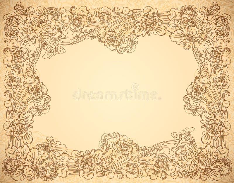 Ram för beige lineart för vektortappningstil blom- stock illustrationer