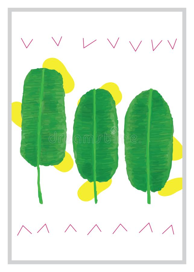 Ram för bild för bananbladvattenfärg vektor illustrationer