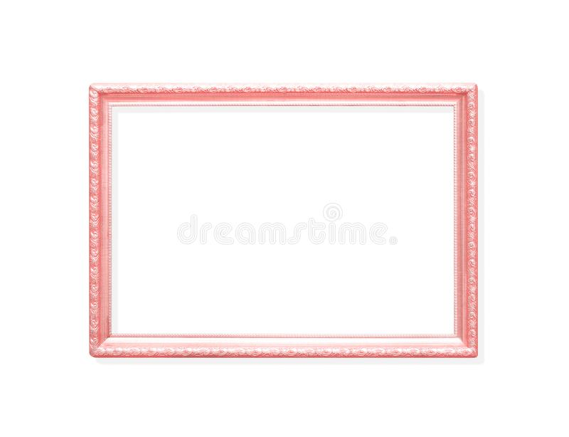 Ram för bild för färgrik metall för garnering rosa med att snida blommamodeller som isoleras på vit bakgrund med urklippbanan arkivfoton
