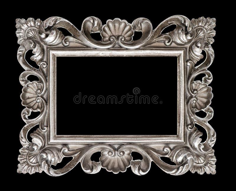 Ram för bild för stil för tappningsilver som barock isoleras över svart royaltyfri fotografi