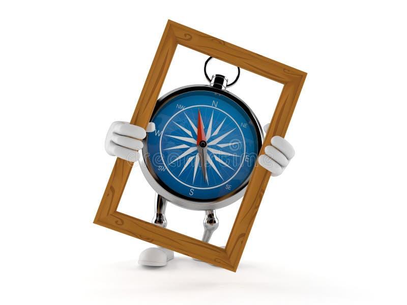 Ram f?r bild f?r kompassteckeninnehav royaltyfri illustrationer