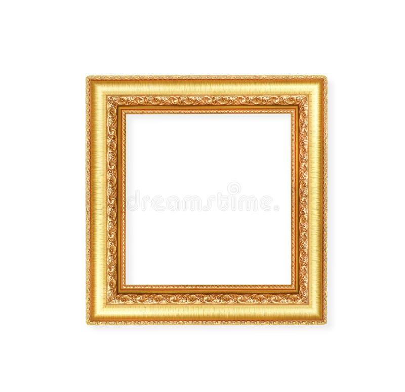 Ram för bild för ursnygg metall för garnering guld- med att snida blommamodeller som isoleras på vit bakgrund med urklippbanan royaltyfria foton