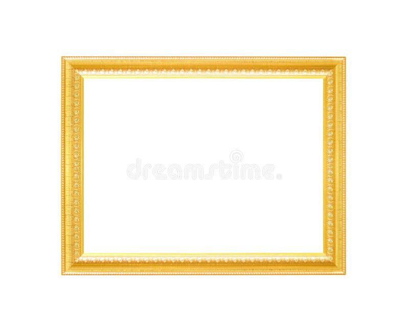 Ram för bild för ursnygg metall för garnering guld- med att snida blommamodeller som isoleras på vit bakgrund med urklippbanan royaltyfria bilder