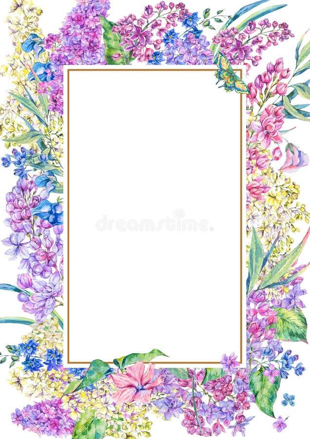 Ram för blom- vår för vattenfärg vertikal royaltyfri illustrationer