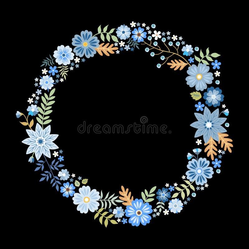 Ram för blom- vektor för sommar rund med gulliga blåa blommor Härlig krans som isoleras på svart bakgrund royaltyfri illustrationer