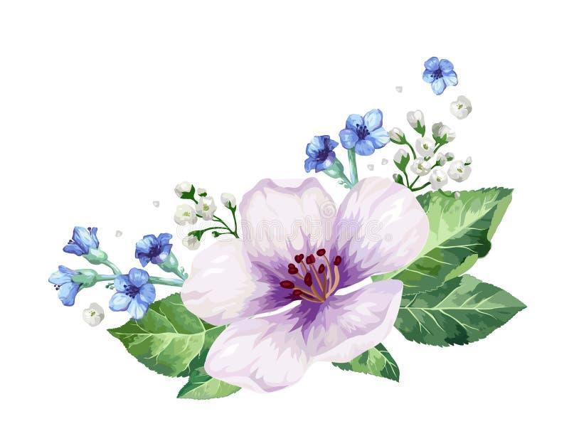 Ram för blomma för Apple träd i vattenfärgstil som isoleras på vit bakgrund stock illustrationer