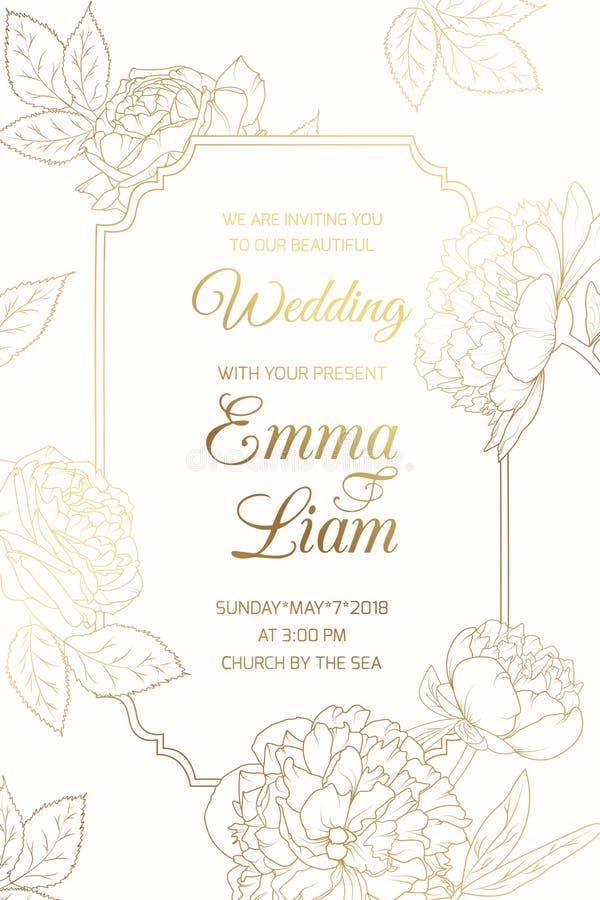 Ram för blommor för pion för bröllopinbjudangolder rosa stock illustrationer