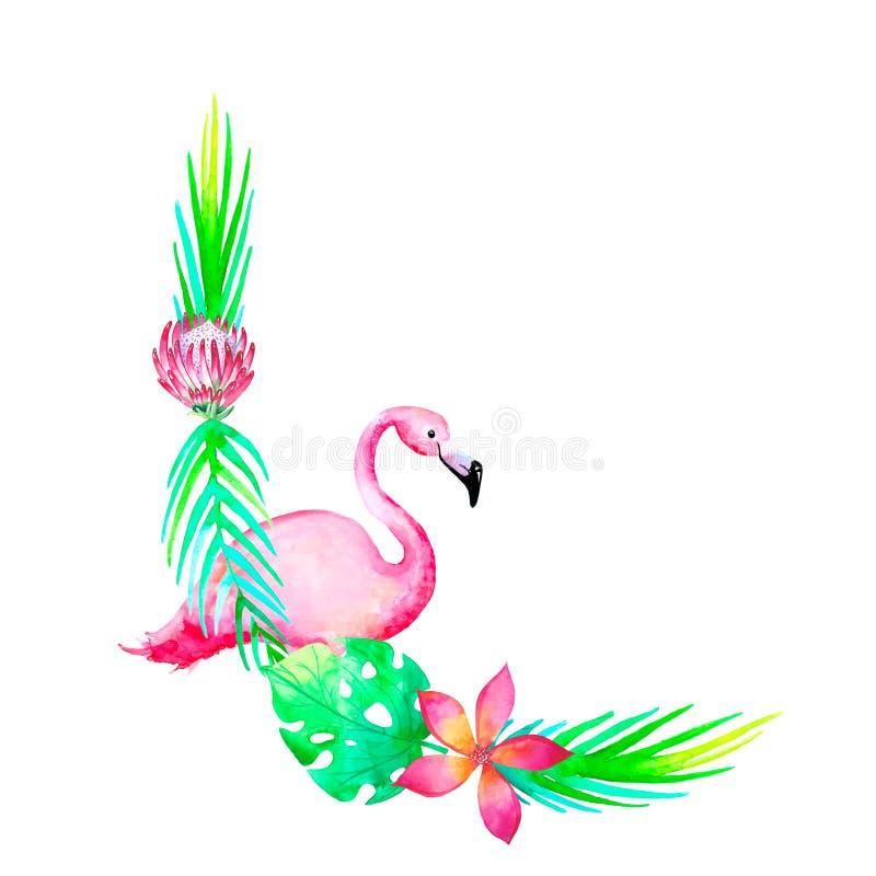 Ram för cirkel för vattenfärgvändkretsbröllop med flamingoe Grön djungellövverkkrans Botanisk designmall sommar för snäckskal för royaltyfri illustrationer