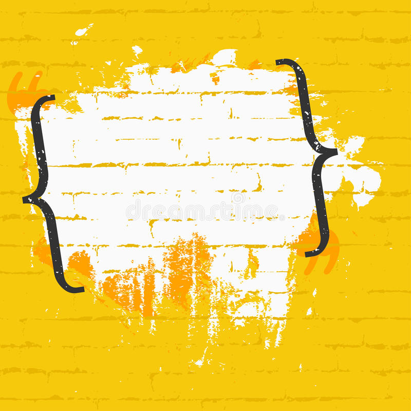 Ram för citationstecken med tegelstentextur på väggen Banerdesignbegrepp vektor illustrationer