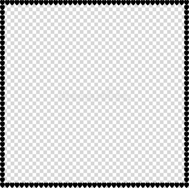Ram för förälskelsefyrkantfoto som göras av isolerade svarta hjärtor för tecknad film royaltyfri illustrationer