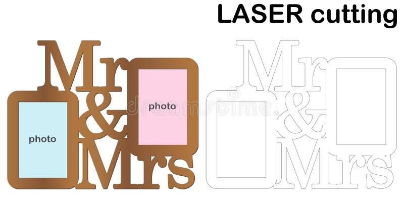 Ram för foto med ` för för inskrift`-herr och fru för laser-klipp Collage av fotoramar Bitande maskin för malllaser för wo royaltyfri illustrationer
