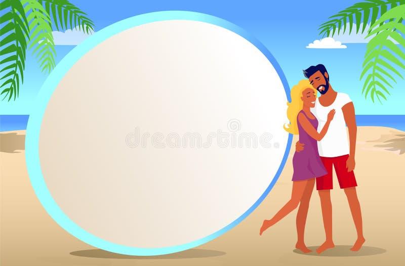 Ram för foto med par på den tropiska stranden royaltyfri illustrationer