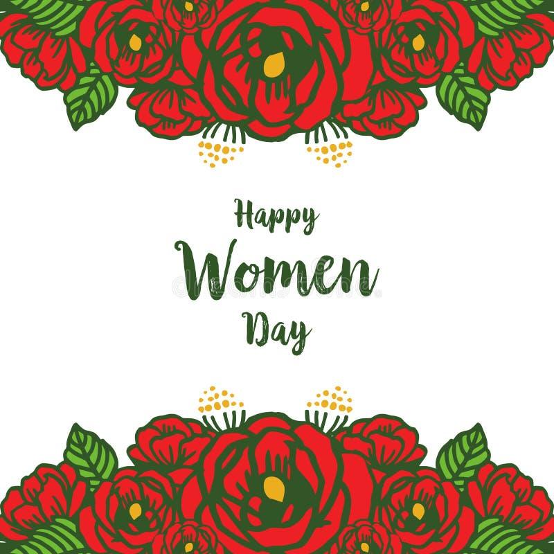 Ram för frlower för konstverk för vektorillustrationdesign röd rosa med det lyckliga kortet för kvinnadaginbjudan stock illustrationer
