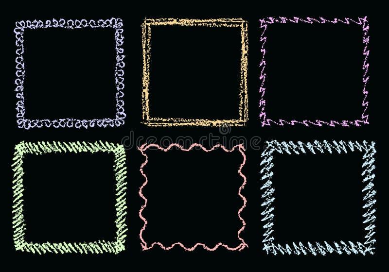Ram för fyrkant för krita- eller färgpennahandteckning på den svart tavlan stock illustrationer