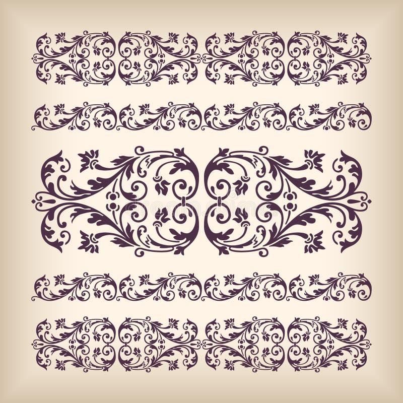 Ram för gräns för fastställd tappning för vektor utsmyckad med retro prydnadpatte stock illustrationer