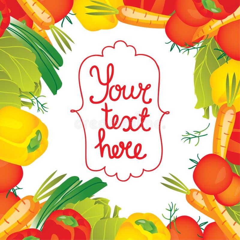 Ram för gräns för vektorillustrationgrönsaker stock illustrationer