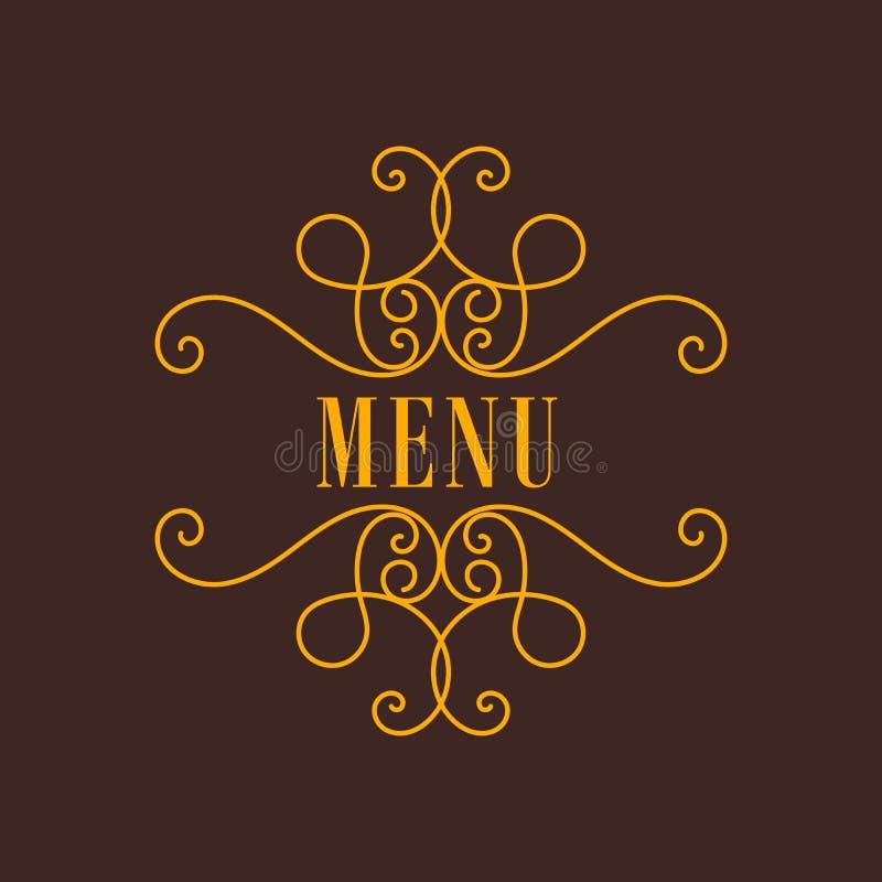 Ram för gul tappning för vektor dekorativ på brun bakgrund royaltyfri illustrationer