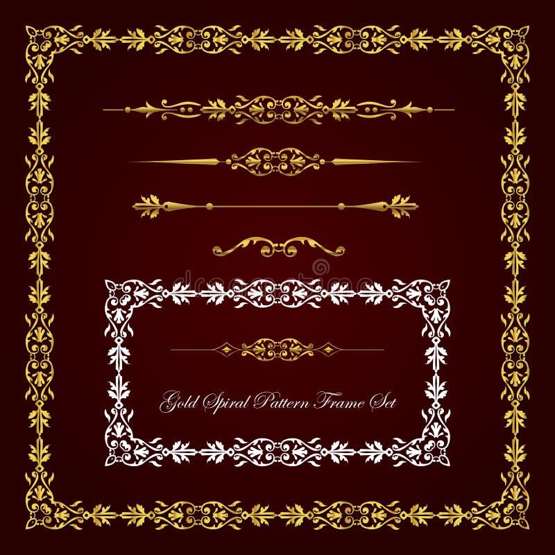 Ram för guldspiralmodell och gränsuppsättning royaltyfri illustrationer