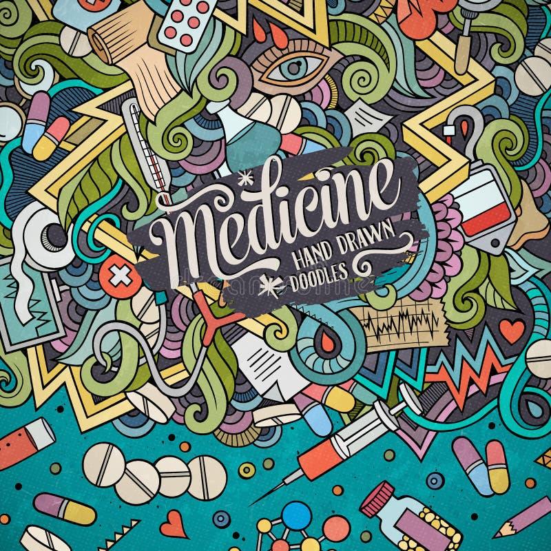 Ram för gulliga klotter för tecknad film medicinsk vektor illustrationer