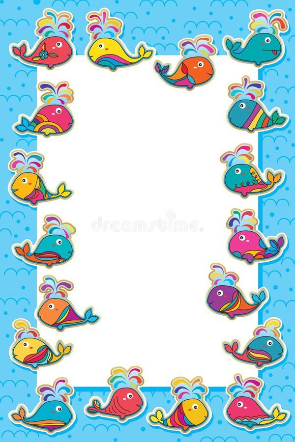 Ram för klistermärke för valmakeupfisk färgrik royaltyfri illustrationer