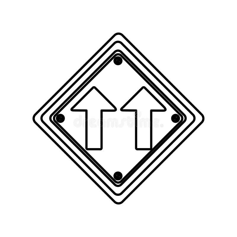 ram för konturdiamantform samma tecken för trafik för riktningspilväg royaltyfri illustrationer