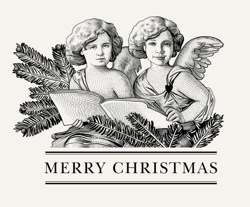 Ram för kort för hälsning för vinter för bröllop för påsk för glad jul för lyckligt nytt år för ängelträd som retro drar inrista  stock illustrationer