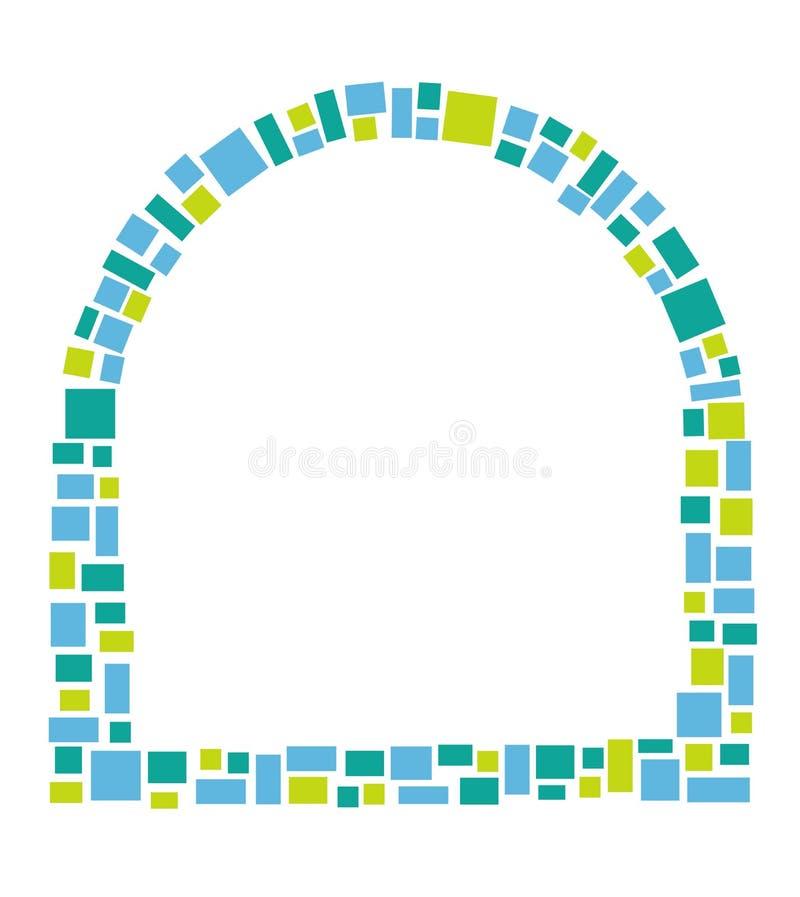 Ram för meddelande för fönsterformmosaik med en blått- och gräsplanfyrkantmodell arkivbilder
