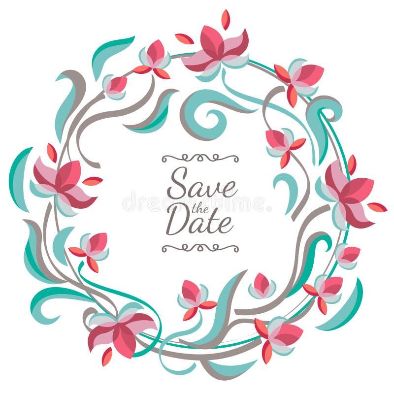Ram för pastellfärgad färg för vektor blom- med blommor Bröllop födelsedag vektor illustrationer