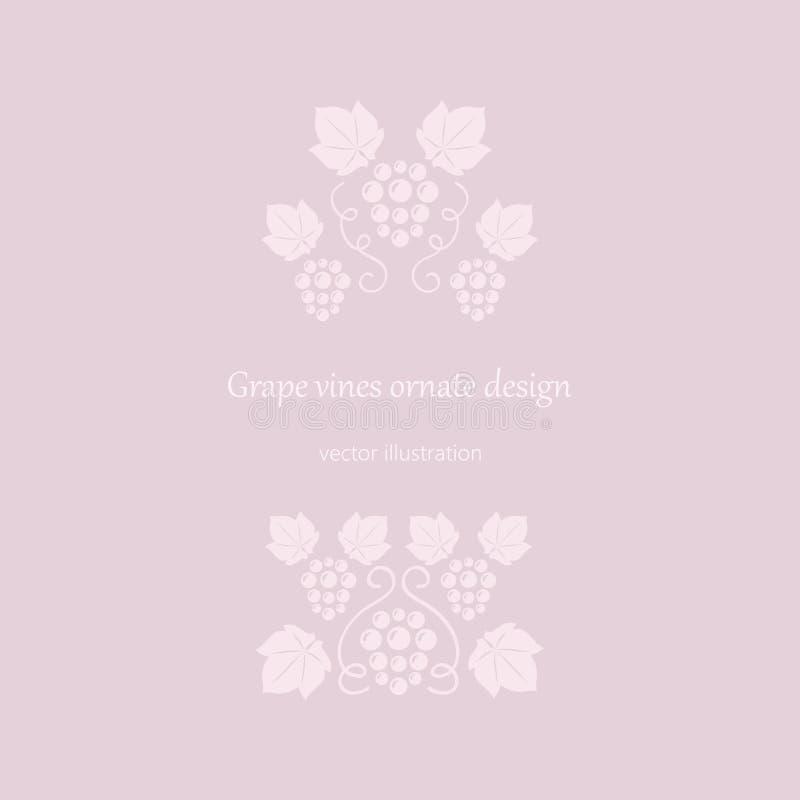 Ram för rosa färger för druvavinrankor stock illustrationer